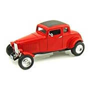 """Motormax GOTZMM73171RD 1:18 Scale Red """"1932 Ford Five Window Coupe"""" Die Cast Model Car"""