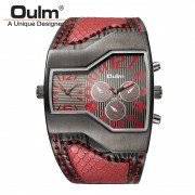 Oulm Top Luxury Brand Men Quartz Watches Double Time Show Snake Band Casual Male Sports Watches Clock Hours relogio masculino