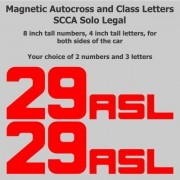 SCCA - NASA - Track Day - 8 inch Autocross Magnetic Number Package with Class Letters, Red, Block Fo