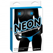Neon Vibr Crotchless Panties&Pastie Blue