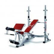 Banco Multiposición de Musculación Optima Press Bh Fitness. Regulaciones de las Barras, Respaldo, Apoyo Brazos, Asiento y Piernas