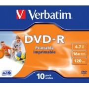 Verbatim 43521 DVD-R 16X 4,7GB wide inkjet printable, Jewel Case