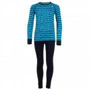 Odlo Set Shirt /Pants Long Warm Kids Kinder Gr. 92 - blau / blue jewel/peacoat/allov.pr. - Lange Unterhosen