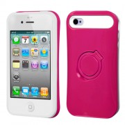 Funda Protector con Pie iPhone 4G/4S Rosa con Blanco