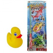Fun Kids Magnetic Fishing Toy Game Bundle with Rubber Ducky-Two Items: One Magnetic Fishing Pole with Magnetic Fish One Water Squirting Rubber Duckie