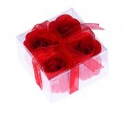 4 flores de jabón presentadas en estuche con lazo