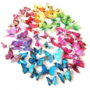 HDYD 72pcs 3d Butterfly Stickers Wall Stickers Crafts Butterflies with Sponge Gum and Pins (6 Color)