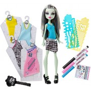 Monster High - Bamboala di Frankie Stein Dress Designer, incl. accessori per creare e decorare abiti