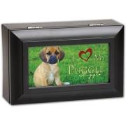 I Love My Puggle Dog Pet Cottage Garden Matte Black Finish Decorative Jewelry Music Musical Box - Pl