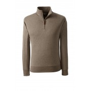 ランズエンド LANDS' END メンズ・スーピマ・ジャカード・ハーフジップ/長袖(ソフトクエイルヘリンボーン)