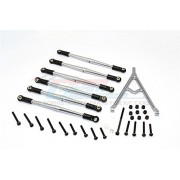 Axial SCX10 Upgrade Parts Aluminium Adjustable Link Parts With Mount For 308mm Wheelbase - 7Pcs Set Grey Silver