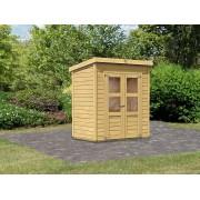 KARIBU Gartenhaus SPARSET Sienna 2 14 mm naturbelassen, inkl. 1 x selbstklebende Premium-Aluminiumfolie