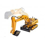 Emob 8 Channel 27Mhz Radio Control Hydraulic Excavator & Bulldozer Full Function Crawler Construction Vehicle Toy with Simulation Track Link Excavation Control 360 Degree All Around Cabin Rotation