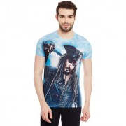 Pirates of the Caribbean Men's Blue Graphic Print Round Neck T-shirt