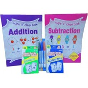 Addition and Subtraction Math Flash Cards Bundles with Wipe N Clean Practice Books and Markers