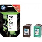 HP 338/343 Combo-pack Inkjet Print Cartridge - SD449EE