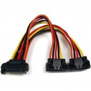 Cable Startech PYO2LSATA 0.15m Adaptador Splitter Divisor de Alimentación SATA Latching con Cierre Pestillo 2x Hembra/Negro