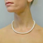 collana filo di perle di acqua dolce 6.00-6.50 mm con chiusura in oro bianco