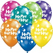 "Baloane latex 11"" inscriptionate Happy Birthday Asortate, Qualatex 14517"