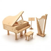 Wood Craft doll house furniture - Music Room 896