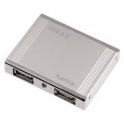"""Hub USB Hama """"Alu mini"""" 4porturi alb"""