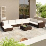 vidaXL Комплект градински мебели от кафяв изкуствен ратан, общо 24 части