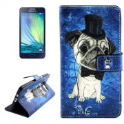 Dog Pattern Colored Drawing Leather Case with Holder & Card Slots & Wallet for Samsung Galaxy A3 / A300F