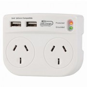 Surge Protected Double Adapter w/ USB Ports