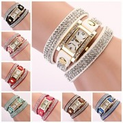 relógio rectangular banda de strass com ligação diamante das mulheres