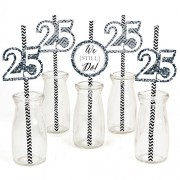 We Still Do - 25th Wedding Anniversary Party Straw Decor with Paper Straws - Set of 24