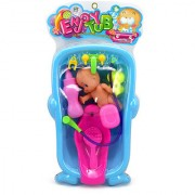 Magideal Random Baby Doll Duck Bath Tub With Bath Accessories Kids Play Toy Set Gift