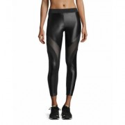 Koral Activewear Frame Mesh-Panel Sport Leggings, Black/Black