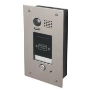 Panou video color de apel exterior DT601F-ID , cu conexiune pe 2 fire, cititor de proximitate si camera video CCD incorporate.Carcasa de protectie de 4mm plexiglassIncastrabil in pereteCititor de proximitate RFID EM (320 carduri max)