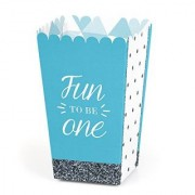 Fun to be One - 1st Birthday Boy Party Popcorn Boxes - Set of 12