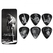 Dunlop JHPT06M Jimi Hendrix Silver Portrait Series Pick Tin Assorted Medium 6 Picks/Tin