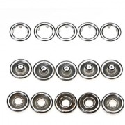 50 Sets 3/8 Inch Open Ring No Sew Snaps Fasteners Silver Nickel plated