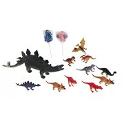 Kids Stegosaurus Dinosaur Toy Bundle 4 Items: 10 Inch Stegosaurus Dinosaur Makes A Sound, 10 Pk Of 4 Inch Dinosaurs, 2 Dinosaur Lollipops