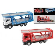 AITING 2pcs Heavy Transporter Truck Automobile transport vehicle Toy for Kids with Lights and Sounds (red+blue)