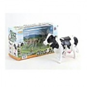 Nds Battery Operated Walking Cow (Shakes Head Wags Tail Moves Around) (White)