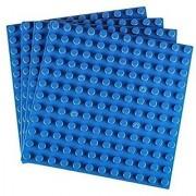 Strictly Briks Premium Blue 7.5 X 7.5 Large Size Pegs Construction Base Plates - 4 Pack Bundle - (Lego Duplo Compatibl