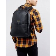 ASOS Backpack In Grain Faux Leather In Black With Front Pockets - Black