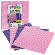 Brick Building Base Plates By SCS - Large 10 x10 Pink and Purple Friends-Inspired Baseplates (4 Pack) - Tight Fit with All Major Brick Sets