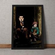 Quadro Decorativo Charles Chaplin E Menino Sentados Na Escada 35x25