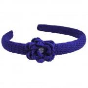 Cordeluta de par, dama, Buticcochet, crosetata manual, cu floare, Albastru