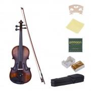 Ammoon Violon 4/4 Full Size Matte-Antique Avec Chiffon De Nettoyage Colophane Cordes Pour Mélomanes