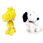 SNOOPY - Pack 2 peluches Snoopy clasico y Woodstock pajaro amarillo 20cm - Calidad super soft