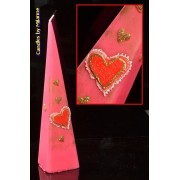 Hartjes Piramide kaars, ROZE/ROOD, H: 30 cm