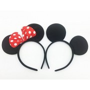 Perfec Mickey Mouse Ears Solid Black and Bow Minnie Headband for Boys and Girls Birthday Party or Celebrations Set of 2