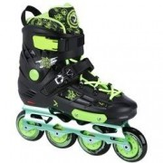 Oxer Patins Oxer Freestyle - In Line - Freestyle / Slalom - ABEC 9 - Base de Alumínio - PRETO/VERDE CLA