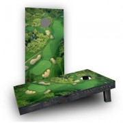 Custom Cornhole Boards Golf Course Flyover Cornhole Game Set CCB176-2x4-AW / CCB176-2x4-C